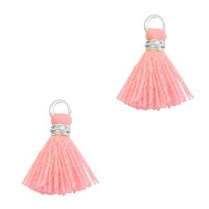 Kwastje mini (stof) met oog Ibiza style 1cm zilver neon coral pink