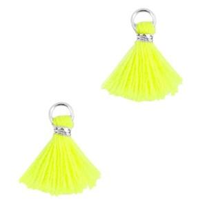 Kwastje mini (stof) met oog Ibiza style 1cm zilver neon geel