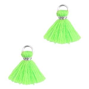 Kwastje mini (stof) met oog Ibiza style 1cm zilver neon groen