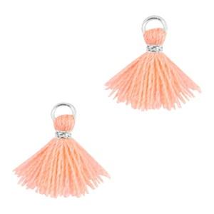 Kwastje mini (stof) met oog Ibiza style 1cm zilver neon peach