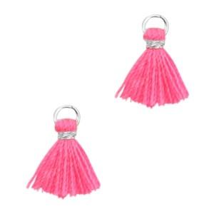 Kwastje mini (stof) met oog Ibiza style 1cm zilver neon pink