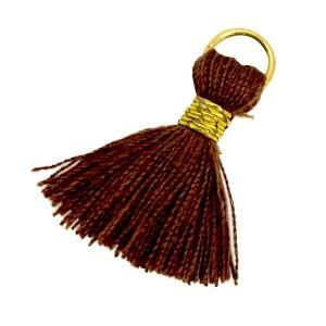 Kwastje (stof) met oog Ibiza style 2cm goud chocolate brown