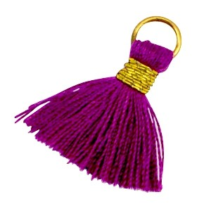 Kwastje (stof) met oog Ibiza style 2cm goud dark aubergine purple