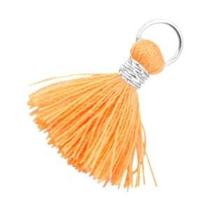 Kwastje (stof) met oog Ibiza style 2cm zilver coral orange