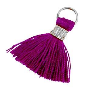 Kwastje (stof) met oog Ibiza style 2cm zilver dark aubergine purple