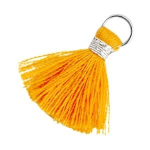 Kwastje (stof) met oog Ibiza style 2cm zilver russet orange