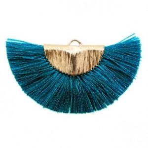 Kwastjes hanger (stof) gold petrol blue 46x25mm
