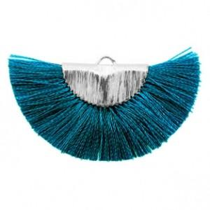 Kwastjes hanger (stof) silver petrol blue 46x25mm