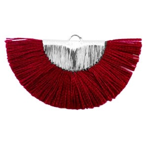 Kwastjes hanger (stof) silver port red 46x25mm
