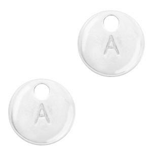 Letter initaal bedel 10mm antiek zilver(A-Z)