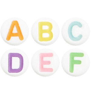 Letterkralen rond 7mm multi color(A-Z)