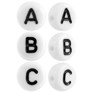 Letterkralen rond 7mm wit (A-Z)