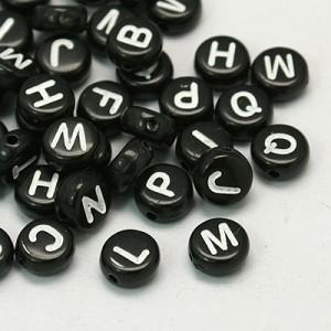 Letterkralen rond 7mm zwart (A-Z)