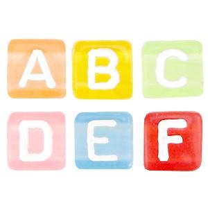 Letterkralen vierkant 6mm multicolor transparant-white (A-Z) (per stuk)