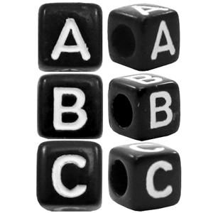Letterkralen vierkant 6mm Ø3.6mm zwart (A-Z)
