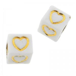 Letterkralen vierkant hartje 6mm Ø3.6mm wit goud