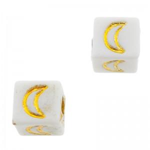 Letterkralen vierkant maan 6mm Ø3.6mm wit goud