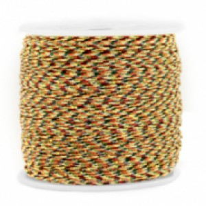 Macrame draad 0.8mm mixed brown-gold per meter