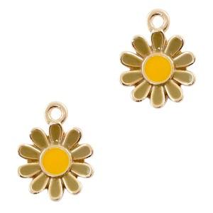 Metalen bedel bloem bruin goud 15x12mm