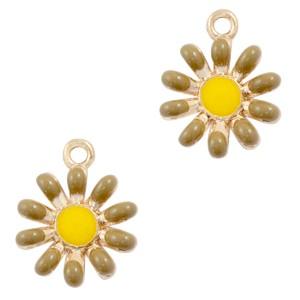 Metalen bedel bloem bruin goud 17x14mm