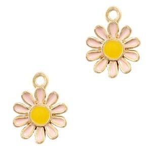 Metalen bedel bloem roze goud 15x12mm