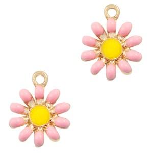 Metalen bedel bloem roze goud 17x14mm