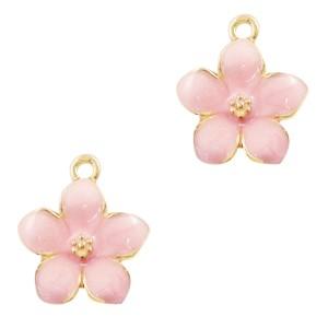 Metalen bedel bloem roze goud 17x15mm