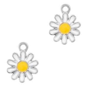 Metalen bedel bloem wit zilver 15x12mm