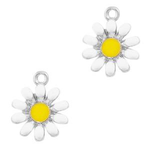 Metalen bedel bloem wit zilver 17x14mm