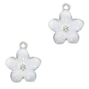 Metalen bedel bloem wit zilver 17x15mm