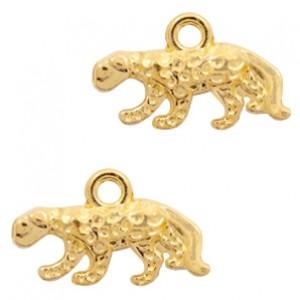 Metalen bedel luipaard 11x18mm goud