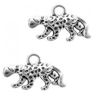 Metalen bedel luipaard 11x18mm zilver