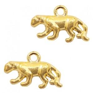 Metalen bedel panter 11x18mm goud
