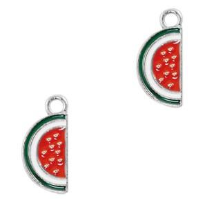 Metalen bedel watermeloen rood zilver 17x8mm