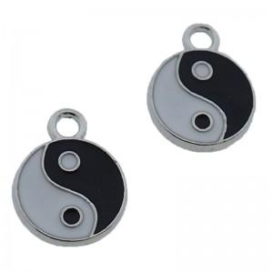 Metalen bedel Yin Yang zilver 16mm