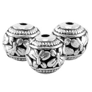 Metalen kraal bol deco 3 8mm zilver