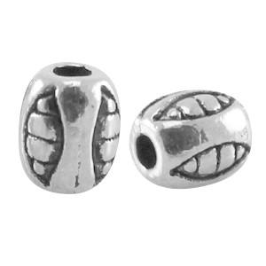 Metalen kraal ovaal deco 5x4mm zilver