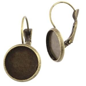 Metalen oorhanger voor Polaris cabochon 12mm brons (per paar)