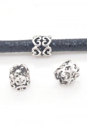 Metalen schuiver hartjes zilver 8mm