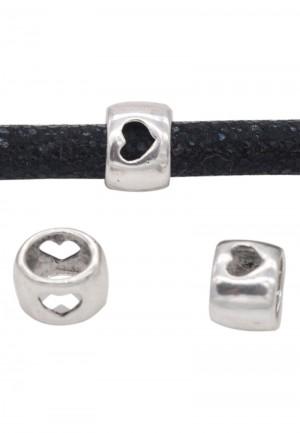Metalen schuiver hartjes zilver 8x6mm