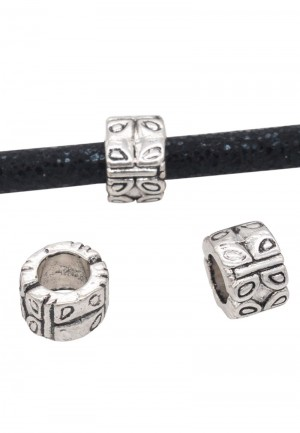 Metalen schuiver rond met vlinders zilver 10x7mm