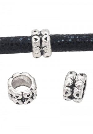 Metalen schuiver rondel met hartjes zilver 8x5mm