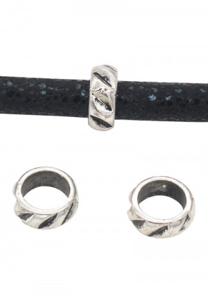Metalen schuiver rondel met inkepingen zilver 8x3mm