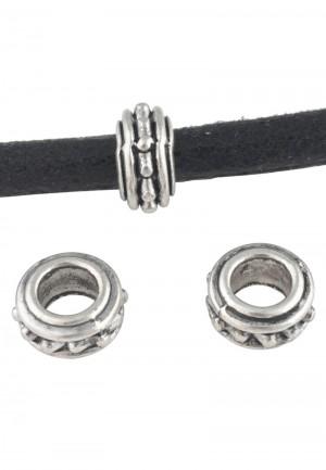 Metalen schuiver rondel zilver 10x5mm