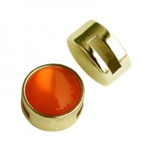 Metalen schuiver / slider rond goud voor Polaris cabochon 12mm