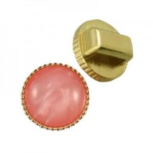 Metalen schuiver / slider rond ribbel goud voor Polaris cabochon 12mm