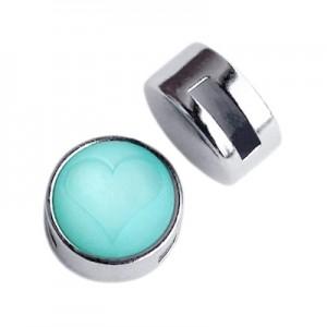 Metalen schuiver / slider rond zilver voor Polaris cabochon 12mm