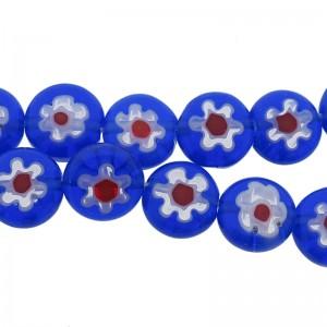 Millefiori glaskraal blauw rood 8mm