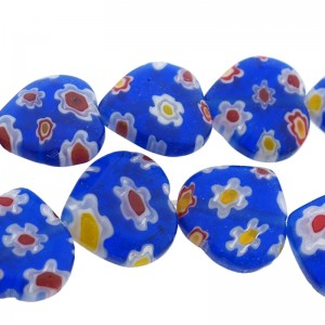 Millefiori glaskraal hartje blauw12mm (per stuk)