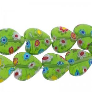 Millefiori glaskraal hartje groen 12mm (per stuk)
